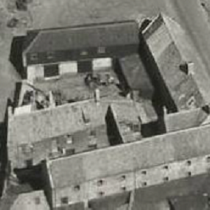 B&W arial shot of smokehouses